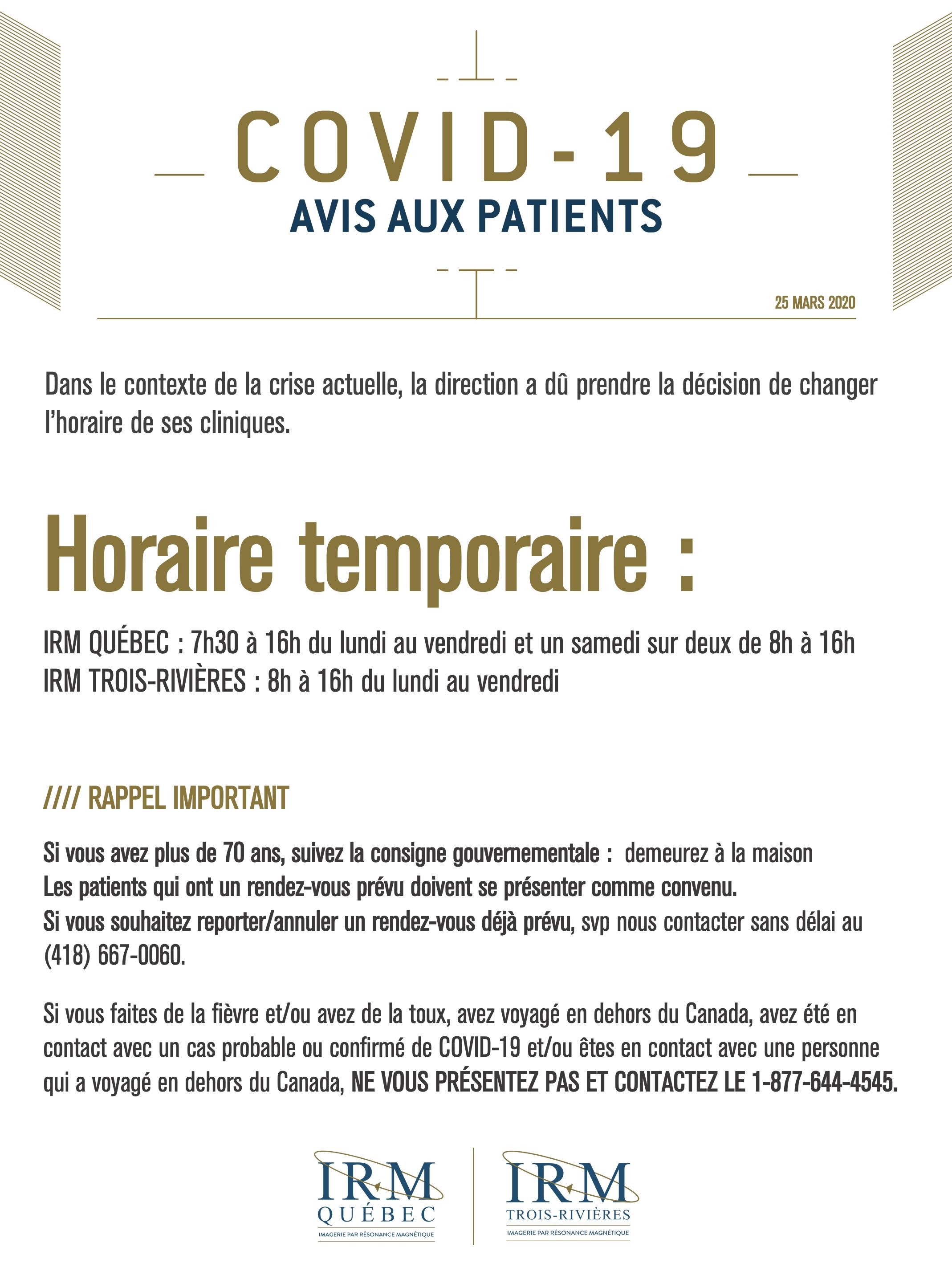 COVID IRM_AVIS 25 MARS20