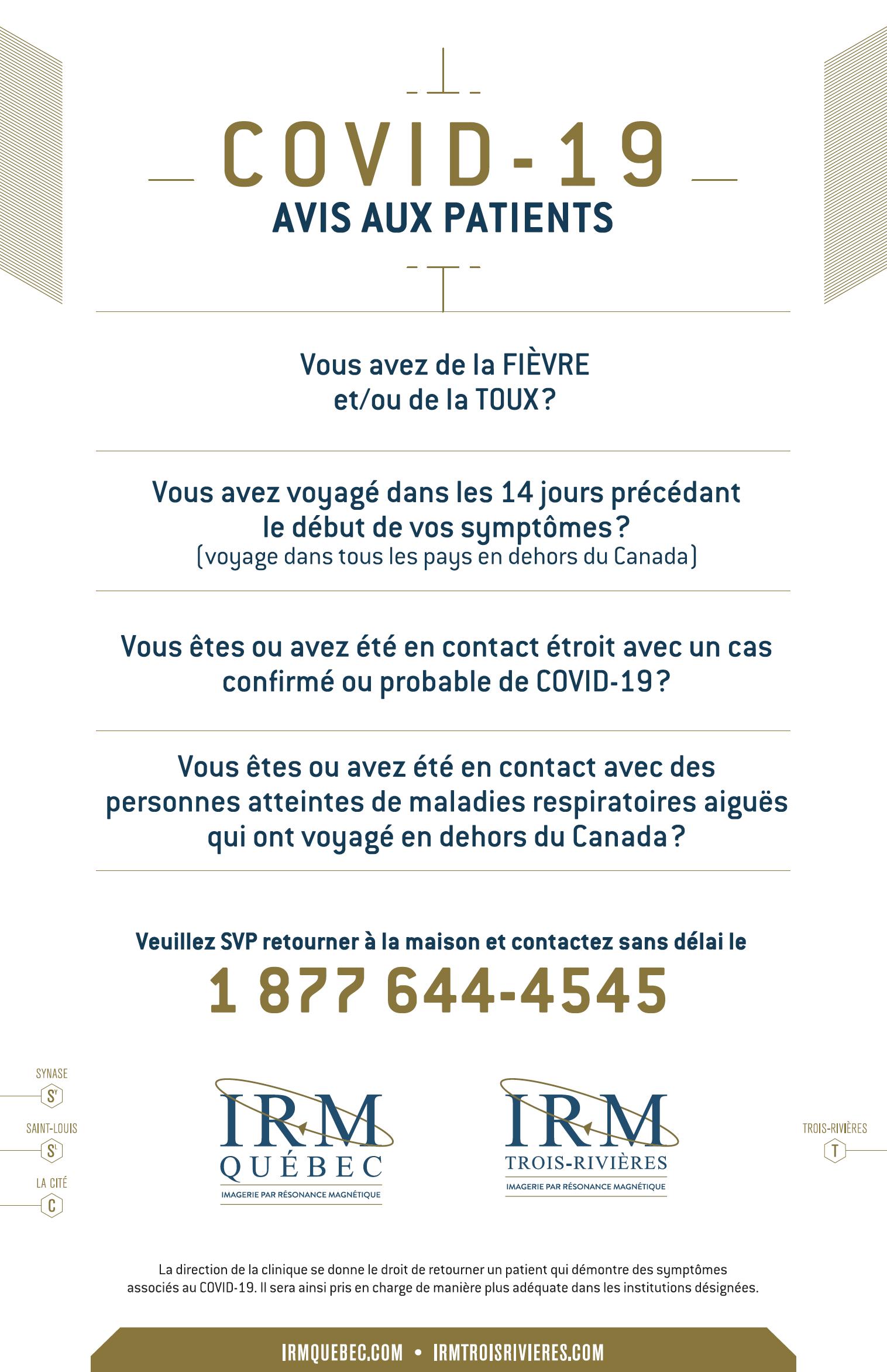 IRM COVID_AVIS 13MARS20
